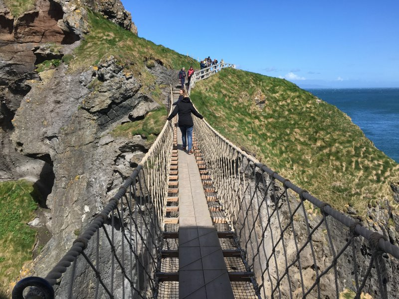 Crossing the Carrick-a-Rede rope bridge