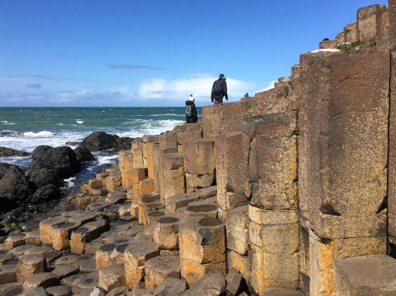 Giants Causeway climbing on stone columns