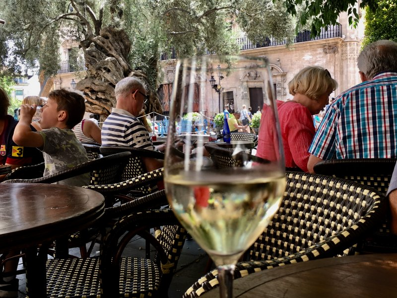A glass of wine, Placa de Cort, Palma de Mallorca old town
