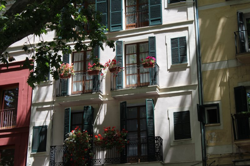 Balconies facing Passeig des Born, Palma de Mallorca
