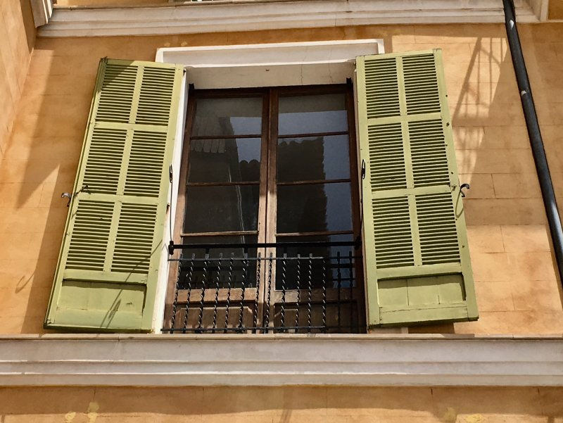 Green window shutters of Placa Major, Palma de Mallorca