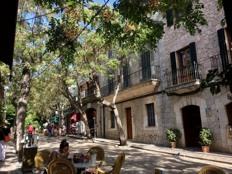 Shady street with cafes, Valldemossa