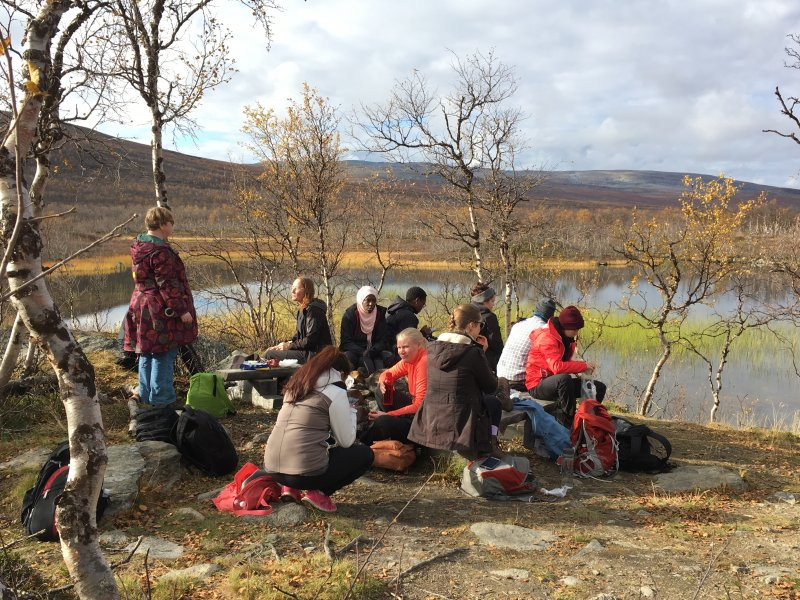 Students from all over the world enjoying Arctic nature
