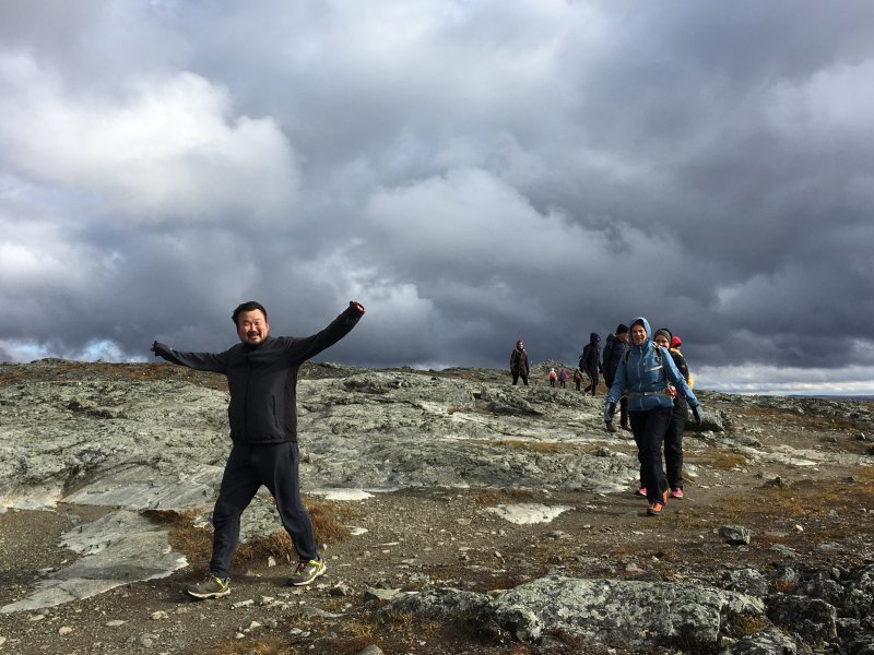 Reaching the top of Saana fell, Lapland