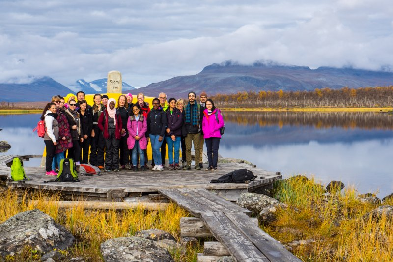 Visiting the three countries border point, Lapland