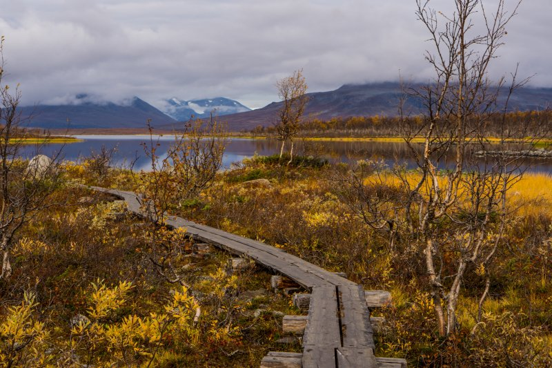 Walkway to the three nations border point, Lapland