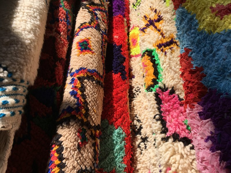 Carpets for sale in the souks of Marrakech