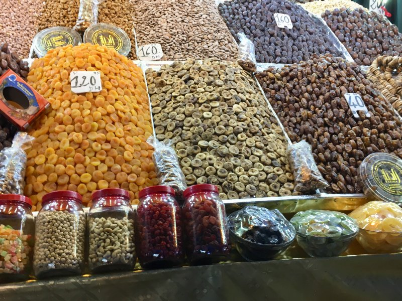 Dates and dried fruits on Jemaa el-Fna
