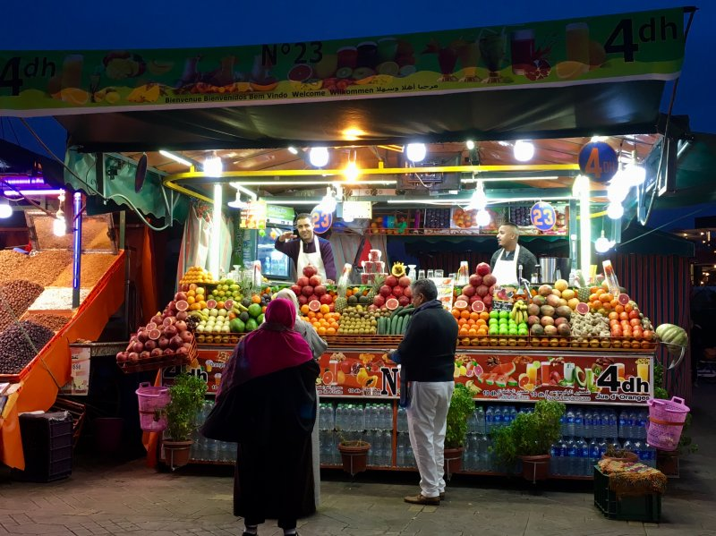 Evening fruit stalls, Jemaa el-Fna