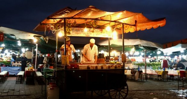 Food stall on UNESCO listed Jemaa el-Fna, Marrakech