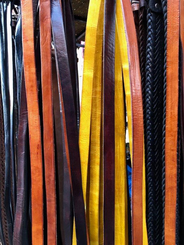 Leather belts for sale in Marrakech souks