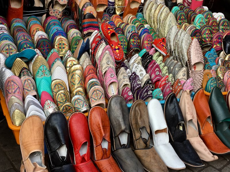 Leather slippers sold in Marrakech souks