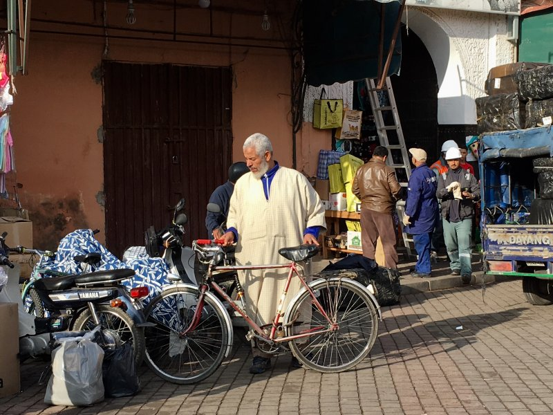 Man and his bike in the souks of Marrakech