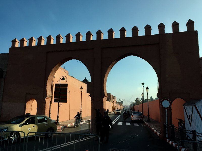 Marrakech city wall and a gate
