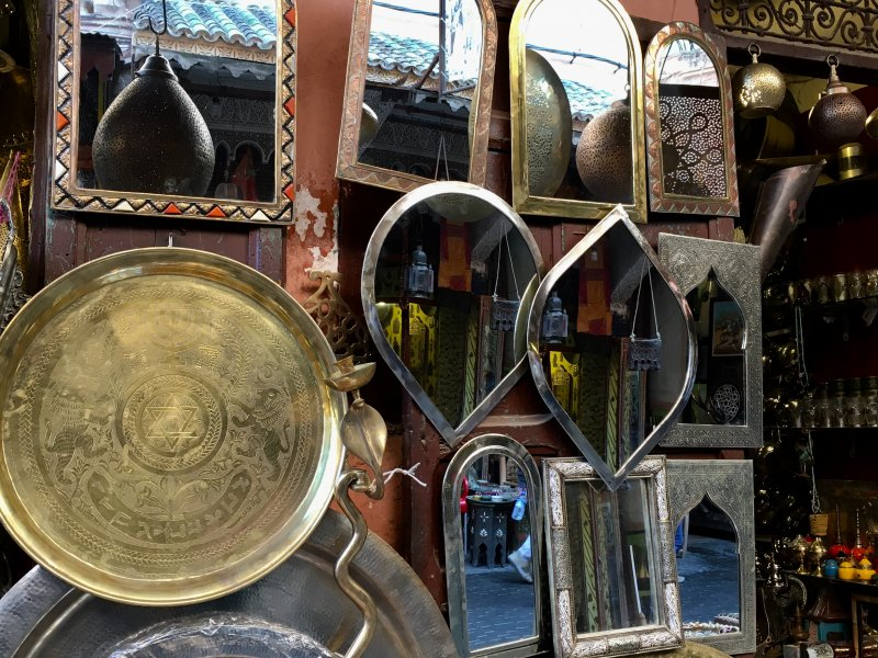 Mirrors for sale in the souks of Marrakech
