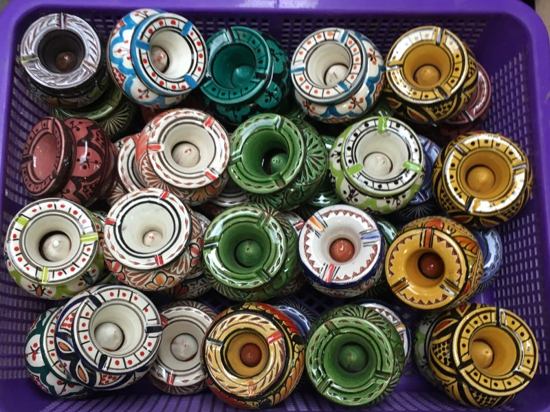 Moroccan ceramics for sale in the souks of Marrakech