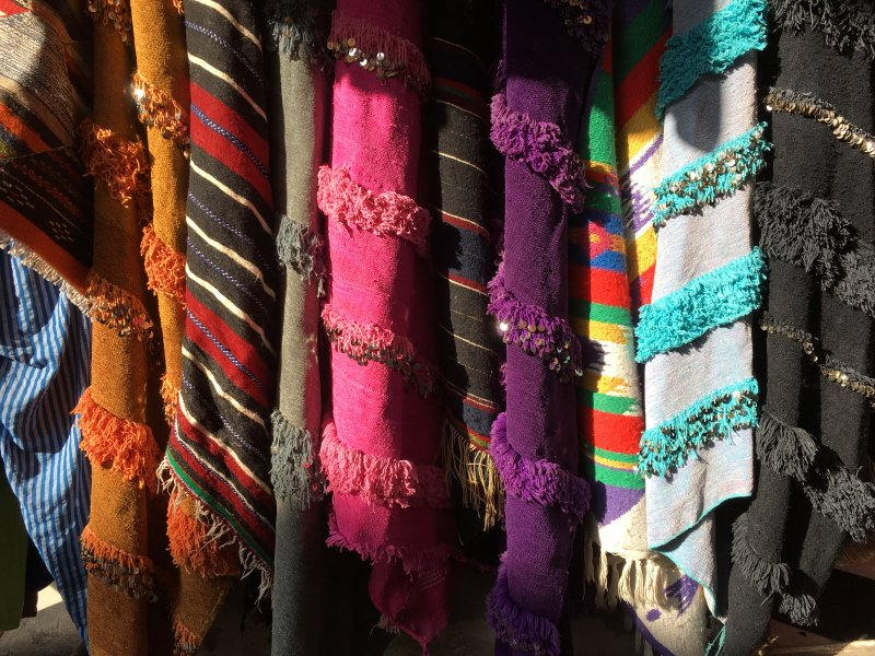 Moroccan textiles in the souks of Marrakech