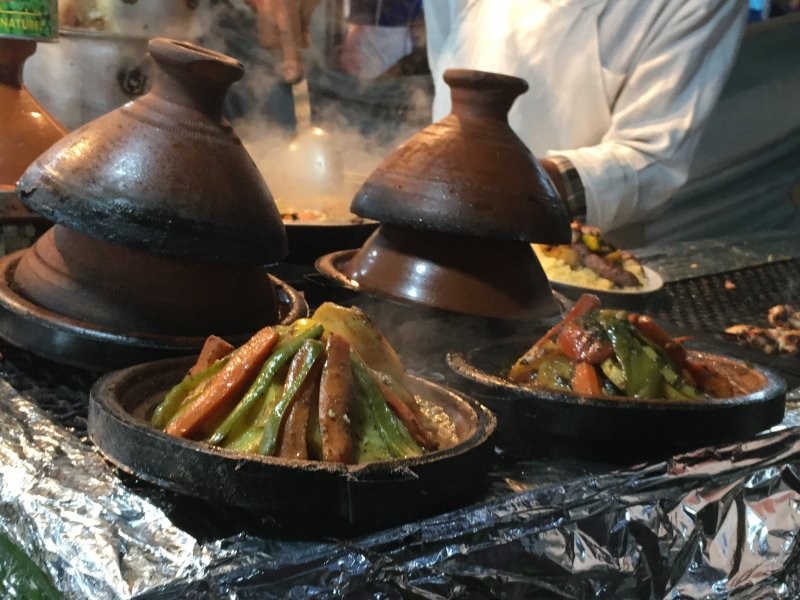 Preparing Moroccan couscous on Jemaa el-Fna