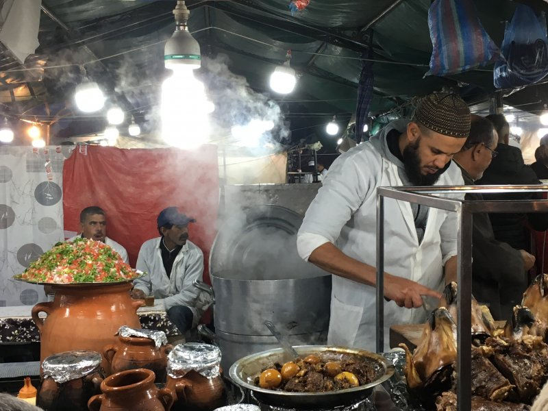 Preparing Moroccan food on Jemaa el-Fna