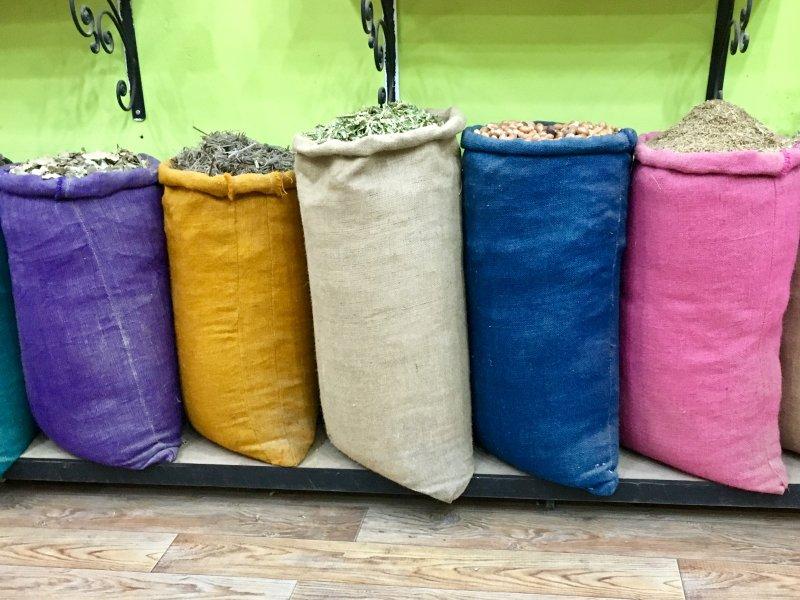 Sacks of herbs, Marrakech souks