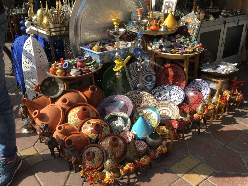 Tagine pots for sale in the souks of Marrakech