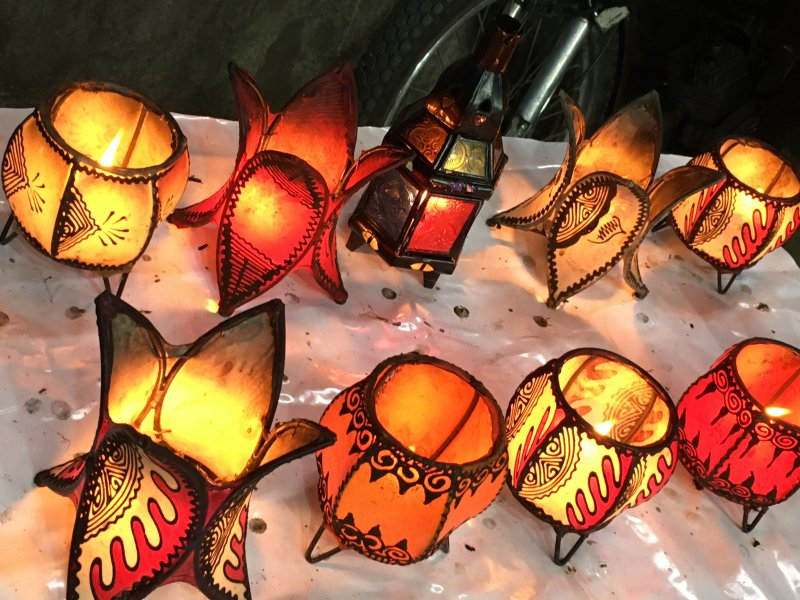 The souks of Marrakech: leather lanterns