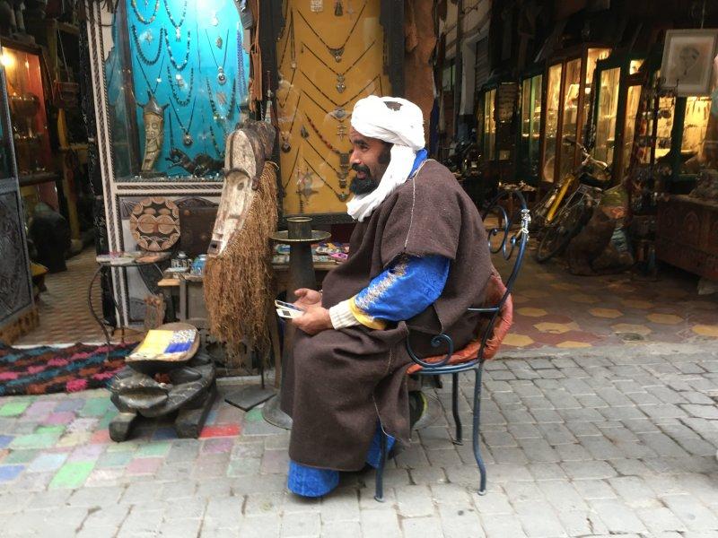 Salesman waiting for customers