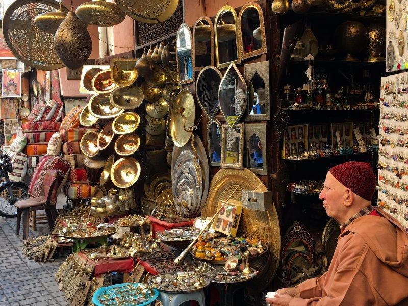 Tradesman in the souks of Marrakech