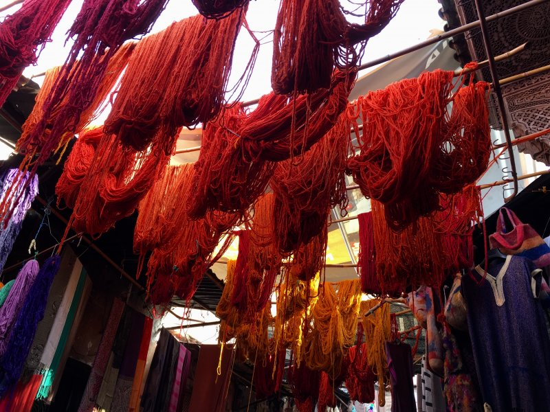 Wool hanging out, Dyers' Souk, Marrakech