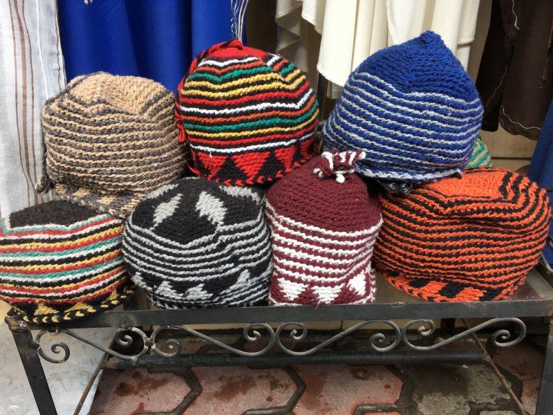 Woollen hats for sale in the souks of Marrakech