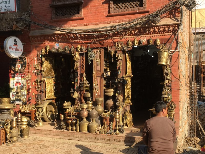 Copper items for sale on Bhaktapur Durbar Square