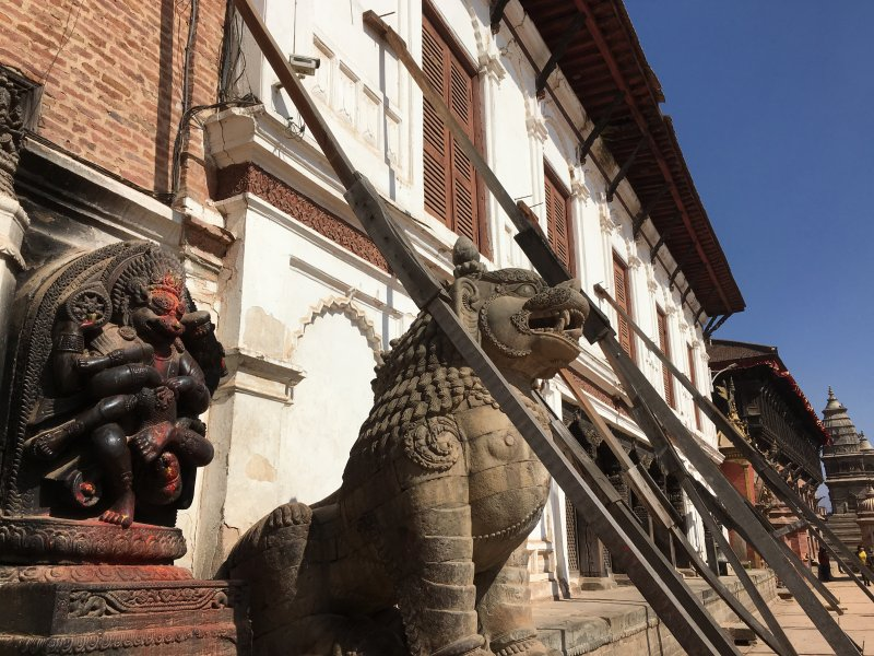 Bhaktapur Durbar Square supported houses