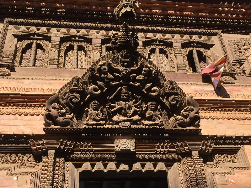 An old facade in Bhaktapur, Nepal