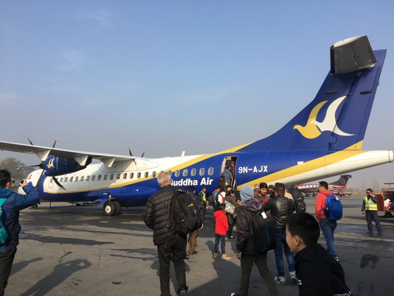 Boarding a Kathmandu to Pokhara flight