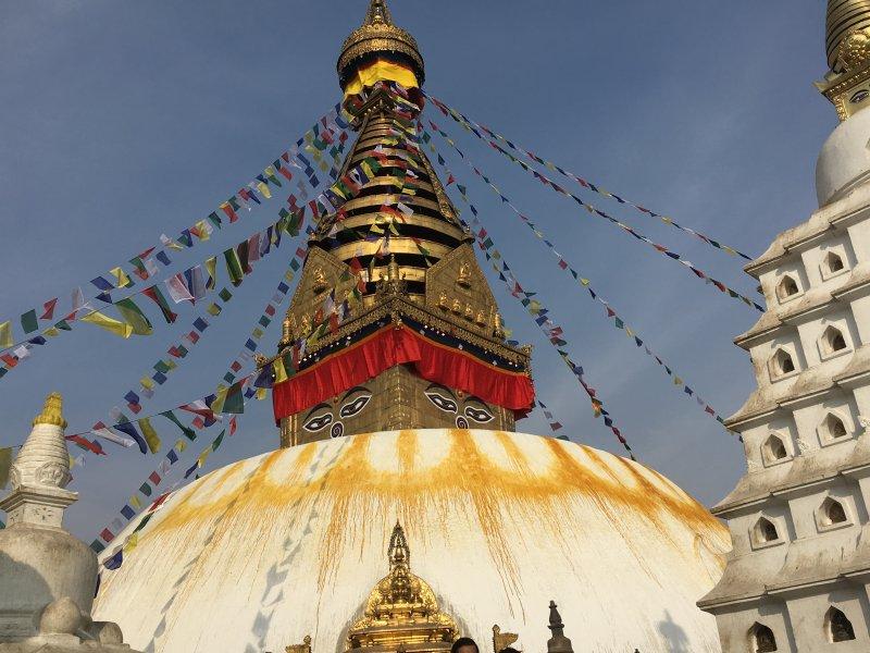 Dome and spire of Swayambbunath, the Monkey Temple of Kathmandu