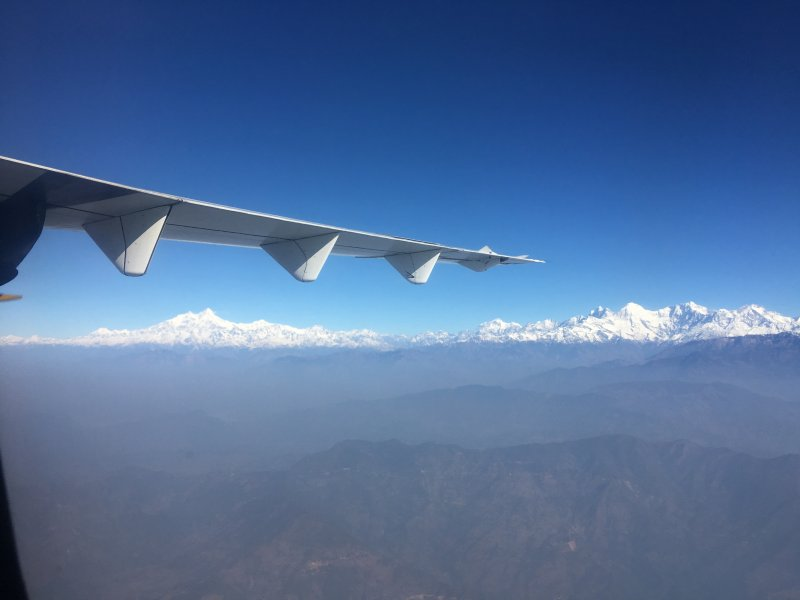 Himalaya mountain range from Kathmandu to Pokhara flight