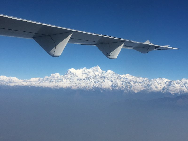 Himalayas from flight Kathmandu to Pokhara
