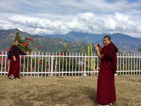 Monks at World Peace Stupa, Pokhara