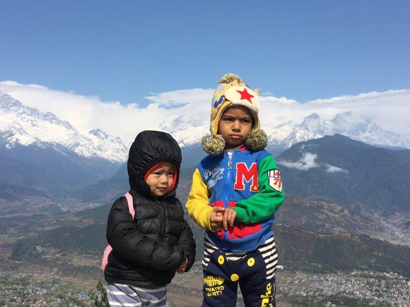 Nepalese children in Sarangkot, Annapurnas