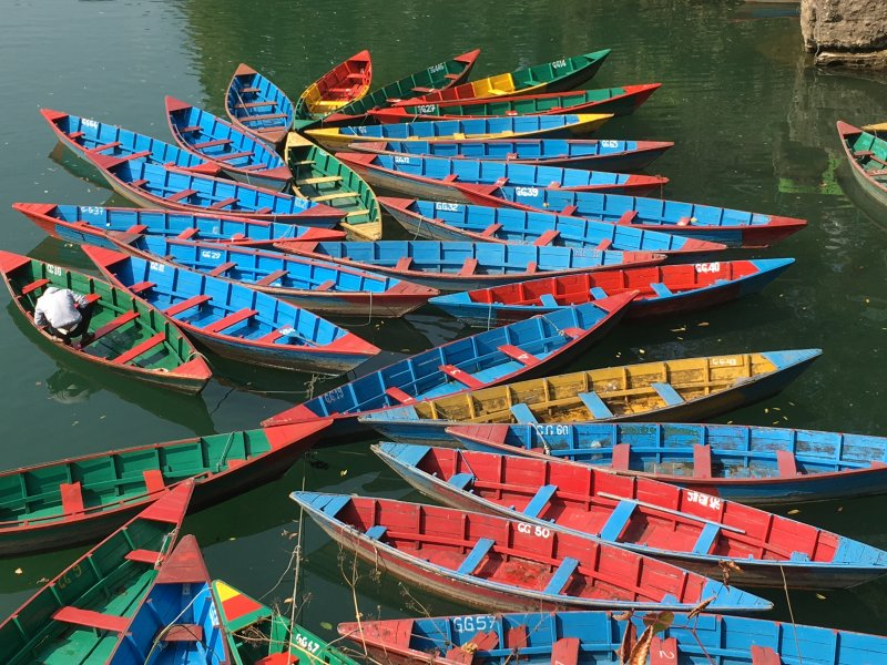 Pokhara lakeside wooden boats