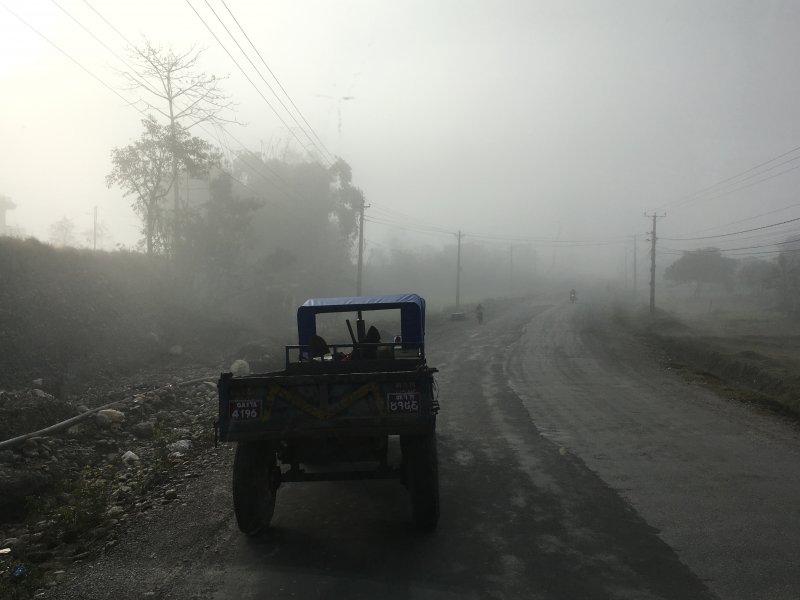 Pokhara to Kathmandu: a misty morning