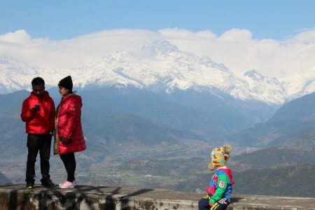 Sarangkot visitors and snow-capped Himalayas