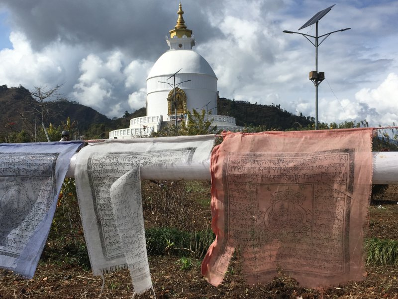 World Peace Stupa and prayer flags