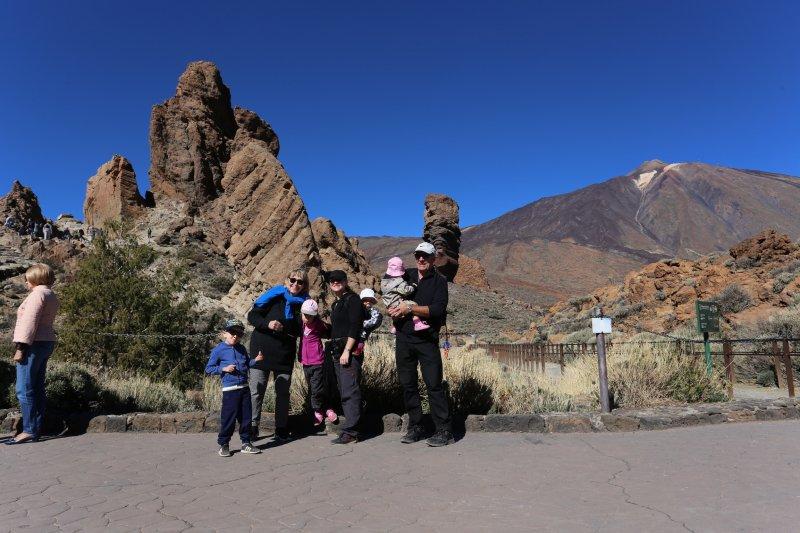 Happy hikers in Mount Teide lava landscape