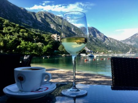 Bay of Kotor from Morinj and a glass of chardonnay