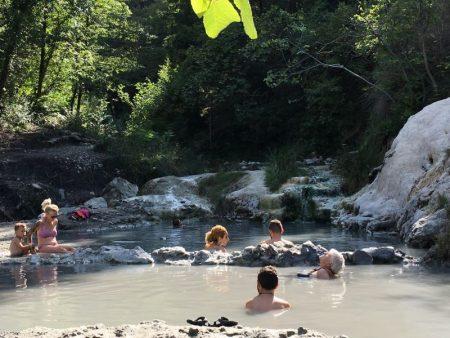 Bathing at Bagni San Filippo, Tuscany
