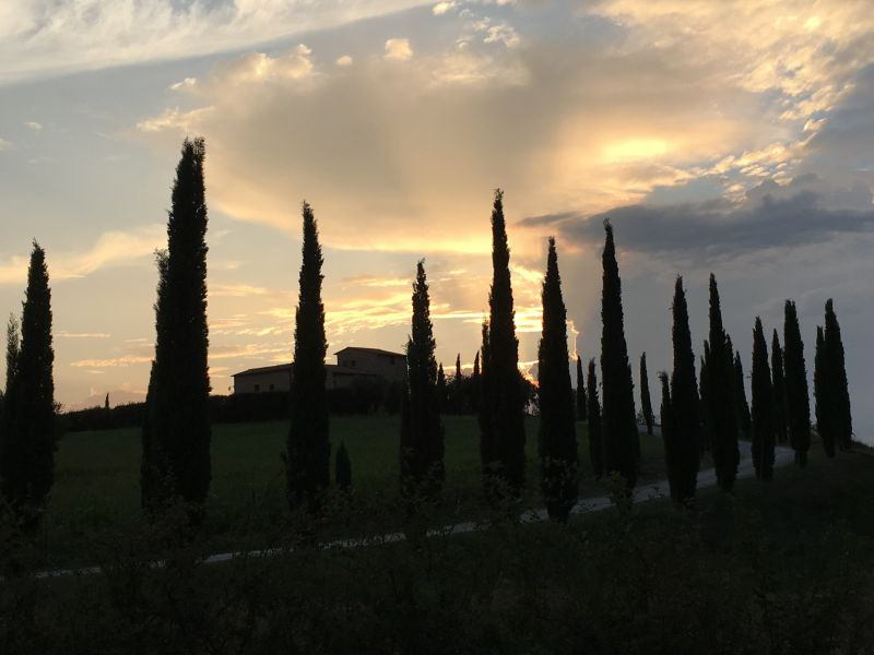 Italy by train and car, evening in Tuscany