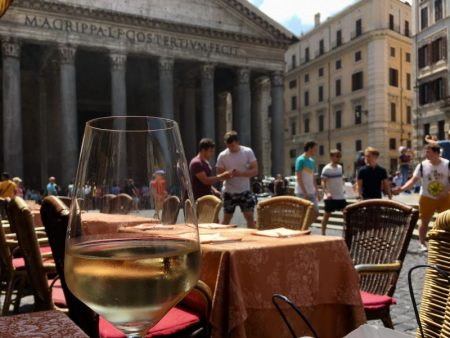 Italy by train and car, Pantheon and a glass of wine