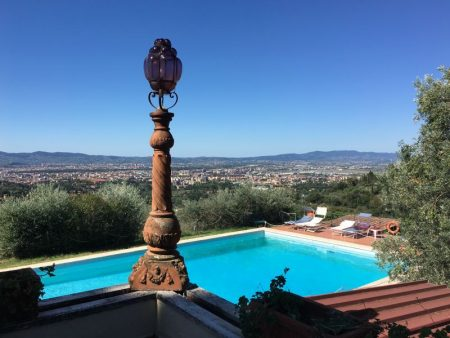 Villa Le Rondini pool and view of Florence