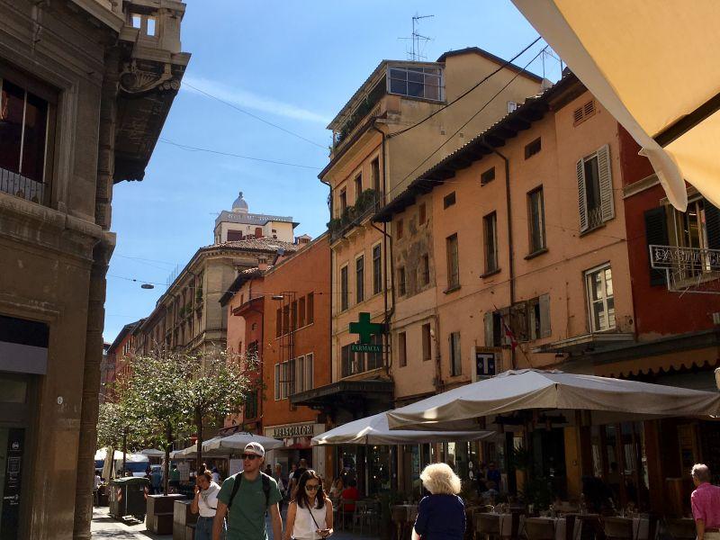 Restaurant street Via Orefici, Bologna